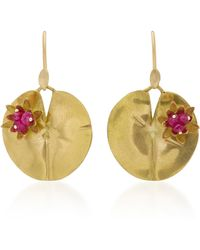 Annette Ferdinandsen | Lily Pad 18k Gold And Ruby Earrings | Lyst