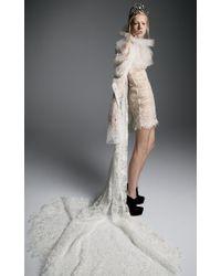 Vera Wang - Maria M Macrame Short Dress With Dramatic Draped Sleeve - Lyst