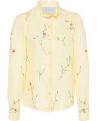 Luisa Beccaria - Floral Embroidered Cotton Shirt - Lyst
