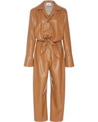 Nanushka - Ana Tie Front Vegan Leather Jumpsuit - Lyst