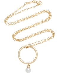 Monica Rich Kosann - Engraved 18k Gold And Pearl Pendant Necklace - Lyst