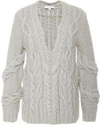 Nellie Partow - Cut Out Cable Knit Sweater - Lyst