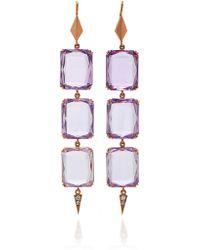 Sylva & Cie - 14k Rose Gold, Amethyst And Diamond Drop Earrings - Lyst