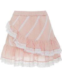 LoveShackFancy - Emma Tiered Lace-trimmed Cotton Skirt - Lyst