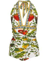 Dolce & Gabbana - Halter Plunge Swimsuit - Lyst