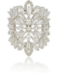 Fallon | Monarch Deco Medallion Rhodium And Crystal Ring | Lyst