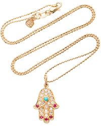 Sydney Evan 14k Yellow Gold And Turquoise Hamsa Hand Charm Necklace - Metallic