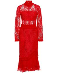 Alexis - Anabella Long Sleeve Midi Dress - Lyst