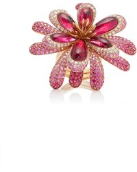 Wendy Yue - 18k Rose Gold, Garnet, Sapphire, Ruby And Diamond Ring - Lyst
