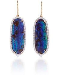 Pamela Huizenga - Long Oval Australian Boulder Opal And Diamond Earrings - Lyst