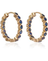 She Bee - 14k Gold Sapphire Hoop Earrings - Lyst