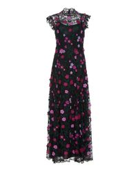Lela Rose - Embroidered Floral Lace Maxi Dress - Lyst