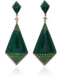 Wendy Yue - 18k Gold, Malachite, Tsavorite And Diamond Earrings - Lyst