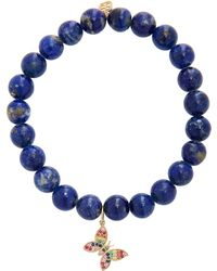 Sydney Evan - 8mm Lapis Bead Bracelet With Mini Rainbow Butterfly Charm - Lyst