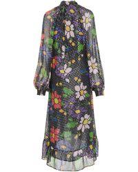 Dodo Bar Or - Barbara Ruffled Floral Lurex Midi Dress - Lyst