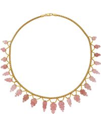 Nina Runsdorf - M'o Exclusive One-of-a-kind Carved Pink Tourmaline Leaf Necklace - Lyst