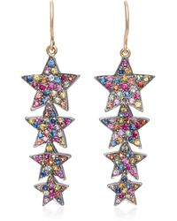 She Bee - Rhodium-plated Sapphire Star Drop Earrings - Lyst