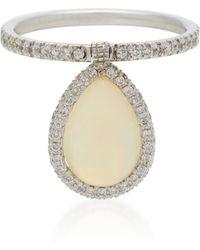 Nina Runsdorf - Medium White Opal And 18k White Gold Flip Ring - Lyst