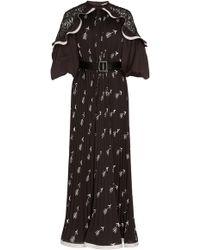 Self-Portrait - Ruffled Shoulder Midi Dress - Lyst