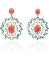 Sanjay Kasliwal - 18k White Gold, Coral, Emerald And Diamond Earrings - Lyst