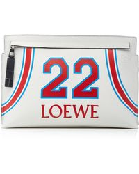 Loewe - T Printed Leather Pouch - Lyst