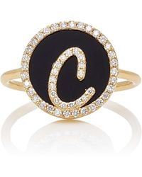 Names by Noush - M'o Exclusive: Treasure Disk Roman Initial Ring With Onyx Gemstone - Lyst