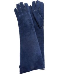 Maison Fabre - Suede And Shearling Long Gloves - Lyst