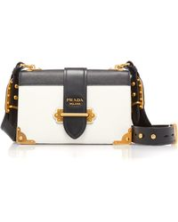 Prada - Cahier Large Two-tone Leather Shoulder Bag - Lyst