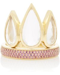 Ark - Tiara 18k Gold Sapphire And Crystal Ring - Lyst