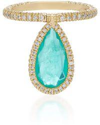 Nina Runsdorf - 18k Gold And Emerald Flip Ring - Lyst