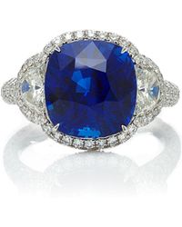 Martin Katz - One-of-a-kind Platinum Cushion Blue Sapphire With Diamonds Ring - Lyst