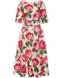 Lela Rose - Embroidered Floral Fil Coupé Midi Dress - Lyst
