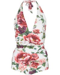 Dolce & Gabbana - Floral Deep V One-piece Swimsuit - Lyst