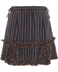 Anna Sui - Jacquard And Stripe Denim Twill Skirt - Lyst
