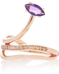 Bea Bongiasca | Gloriosa Lily 9k Rose Gold, Amethyst And Diamond Ring | Lyst