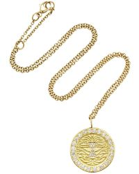 Misahara - Lion Charm 18k Gold Diamond Necklace - Lyst