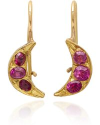Renee Lewis - Crescent Moon 18k Gold Ruby Earrings - Lyst