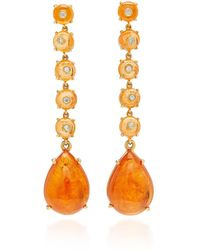 Nina Runsdorf - M'o Exclusive: One-of-a-kind Spessartite Garnet Bead And Cabochon Drop Earrings - Lyst