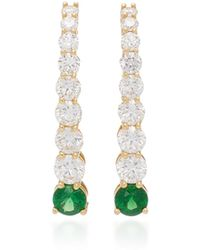 Melissa Kaye - Aria 18k Gold, Diamond And Tsavorite Garnet Earrings - Lyst