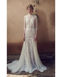 Costarellos Bridal - Mesh Bodice, Edging Embroidered Tulle Long Godet Dress - Lyst