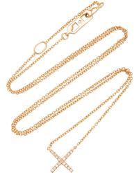 Eva Fehren - Tiny X Rose Gold And Diamond Pendant Necklace - Lyst