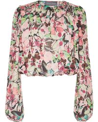 Monique Lhuillier - Long Sleeve Printed Cropped Blouse - Lyst