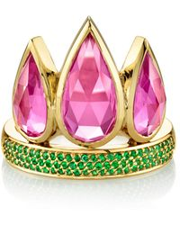 Ark - Tiara 18k Gold Emerald And Topaz Ring - Lyst