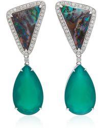 Dana Rebecca - 14k White Gold, Boulder Opal And Green Onyx Earrings - Lyst