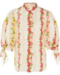 Luisa Beccaria - Striped Floral Broadcloth Top - Lyst