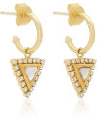 Amrapali - Kundan 18k Gold Triangle Hoop Earrings - Lyst