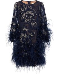 Marchesa - Embroidered Gardenia Lace Cocktail Dress With Ostrich Feathers - Lyst