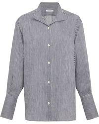 FRAME - Striped Linen-blend Shirt - Lyst