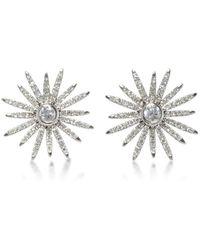 EF Collection - 14k White Gold Diamond Starburst Stud Earrings - Lyst