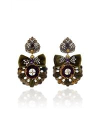 Ranjana Khan | 14k Gold-plated Mother Of Pearl And Crystal Earrings | Lyst
